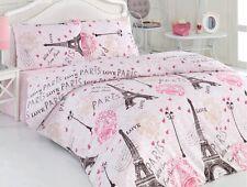 100% Cotton 4 pcs Pink Paris Eiffel Tower QUEEN Double Bedding Duvet Cover Set