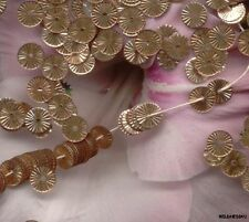 VINTAGE FRENCH SEQUINS Gold Copper RUFFLE Indent Metallic Paillettes lot 6mm