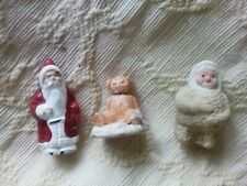 VINTAGE XMAS CHRISTMAS CAKE DECORATIONS CAKE TOPPERS PLASTER (3)