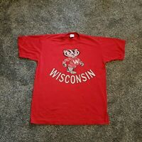 Jerzees Mens L Wisconsin Badgers Bucky 1987 Red Single Stitch Tshirt