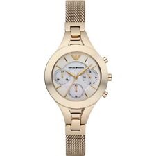 NEW EMPORIO ARMANI CHRONO STAINLESS STEEL MOTHER OF PEARL LADIES WATCH AR7390