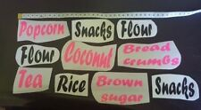 CANISTER LABELS vinyl decals SET OF 6 tea coffee sugar lollies YOUR CHOICE