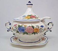 Vintage Large Ceramic Soup Tureen Fall Floral with Underplate and Ladle -Japan