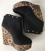 New Look Black Ankle Wedge Leopard Print Suede Studded Boots Size: UK 4-5