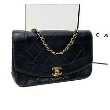 Authenticated CHANEL Diana Vintage Black Lambskin Flap Bag Turn Lock CC **USED**