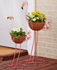 Flamingo Bird Planters Yard Statue Lawn Art Garden Porch Patio Outdoor Decor 2Pc