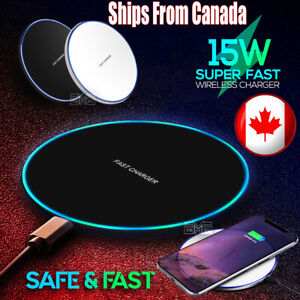 Fast Wireless Phone Charger 15W Ultra Pad Mat for iPhone 11 12 X XR Samsung S20
