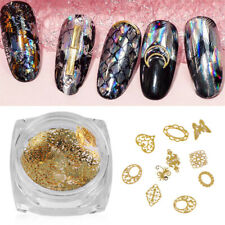 Gold Flowers Diy Tips Metal Slices Nail Sequins Manicure Decor 3D Flakes