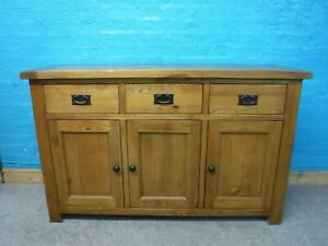 DOVETAILED WIDE SOLID OAK 3DRAWER SIDEBOARD H87 W140 D47cm- VISIT OUR WAREHOUSE