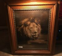 "ANTIQUE VICTORIAN ERA 1899 ""CIRCUS LION"" Chromolithograph in GORGEOUS FRAME"