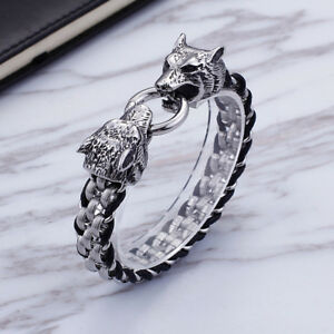 13mm 7.87'' Stainless Steel braid leather chain Double Wolf End Bracelet bangle