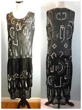 VTG 1920s 20s Beaded Dress Flapper Egyptian Art Deco Black & White Alphabet Sz M