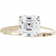 1 Carat Asscher Cut in 14k Yellow Gold Solid Solitaire Engagement Wedding Ring