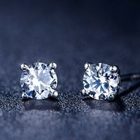 18K WHITE GOLD GF STUD MADE WITH SWAROVSKI CRYSTAL STUD SPARKLING CLASSIC 2CT