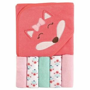 Luvable Friends Hooded Towel with Washcloths, 6-Piece Set, Girl Fox