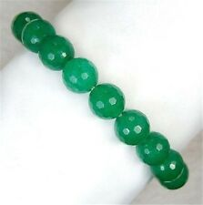 "Natural 10mm Faceted Green Emerald Round Beads Bracelet 7.5"" AA J40"