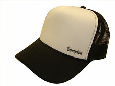 Compton Old English Side Logo Black & White Mesh Trucker Cap Caps Hat Hats