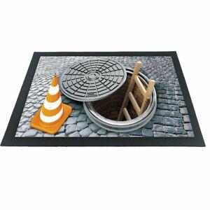 Witzige Fußmatte Gullideckel Kanaldeckel 3D-Motiv bunt 60x40x04 cm Haushalt