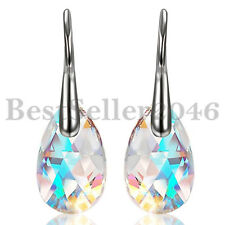 Made with Swarovski Elements Crystal Aurora Tears Drop Dangle Women Ear Earrings