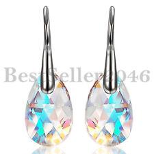 2pcs Swarovski Elements Crystal Womens Aurora Tears Drop Dangle Ear Earrings