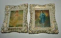Vintage Turner White Framed 1960s Art Painting Prints The Blue Boy & Pinkie Girl