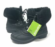 Crocs Allcast Luxe Duck Boots womens Size 5 Lined, Fur Trim  Black Shimmer  NEW
