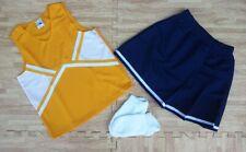 "Adult Gold Navy Blue Real Cheerleader Uniform Top Skirt 32-34/22-25"" Cosplay New"