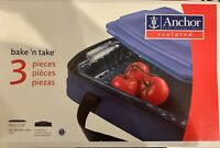NIB Anchor Hocking Bake n Take Sculpted Glass Baking Dish w/Lid & Insulated Tote