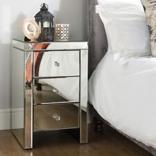 Seville Mirrored 3 Drawer Storage Bedside Table Nightstand Chest