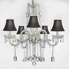 AUTHENTIC ALL CRYSTAL CHANDELIERS LIGHTING WITH BLACK SHADES H27
