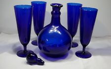 4 Cobalt Blue Stemware & Decanter with stopper with  Wine Beer Glasses