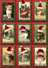 Christmas Vintage Inspired Tags Cards Cats Scrapbooking Crafts Set of 9