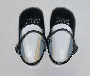 """Black baby or doll shoes Mary Janes bow 4 1/2"""" long 2"""" wide size 4 US"""