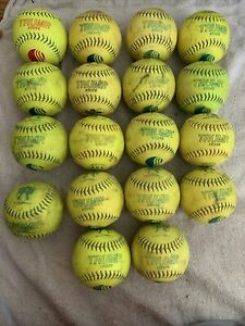 """Lot Of 18 Used TRUMP Yellow Green 12"""" Inch Slow Pitch Batting Practice Softballs"""