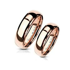 PERSONALIZED TUNGSTEN ROSE GOLD RING SET CUSTOM ENGRAVED FREE