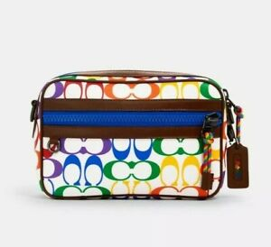 Coach Graham Crossbody In Rainbow Signature Canvas New With Tags