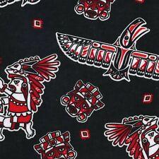 Fabric Tribal Symbols Eagles Red -Black Flannel 1/4 yd 93634