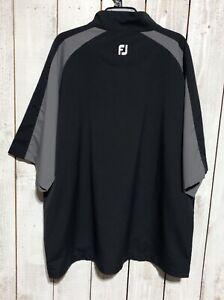 Footjoy Short Sleeve Sport Windshirt Men's Black & Gray Sz 2XL