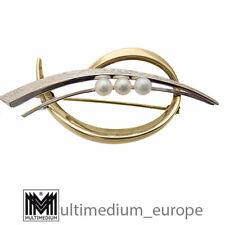 585er Gold Brosche Süßwasser Perle Weißgold Gelbgold 50er 60er brooch pearl 14ct