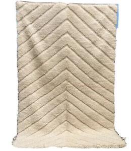 VINTAGE Moroccan Beni Ourain B16 Rug 8ft X 5ft 4'' Handmade Wool/lozenge/crafts