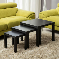 Modern Nest of 3 Tables Black Gloss Side End Coffee Table Living Room Furniture