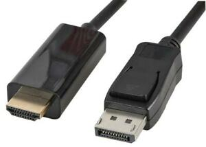 DISPLAYPORT TO HDMI CABLE, 5M BLACK, DISPLAYPORT CABLE FOR PRO SIGNAL
