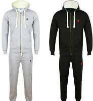 NEW MENS POLO TRACKSUIT SET FLEECE HOODIE JOGGING BOTTOMS JOGGERS WARM TRACKIES