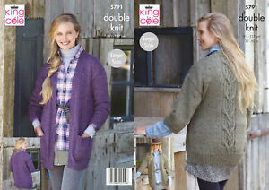 King Cole Ladies DK Knitting Pattern Cabled Jacket Long or Wide Sleeves 5791