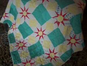 Vintage Hand Stitched; Hand Quilted Star Quilt, 1930's Crib Size