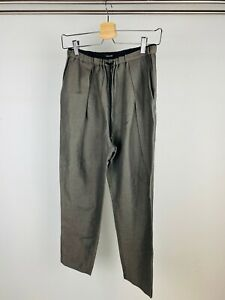 Pas De Calais Dark Grey Green Linen Blend Straight Leg Relaxed Trousers UK S