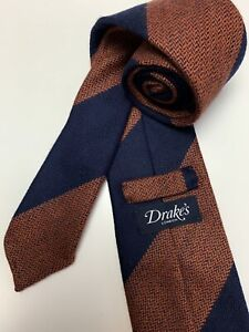 Drake's NWOT Navy Orange Striped 100% Wool Mens Neck Tie Handmade In England