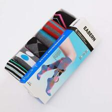 6 Pairs Womens Cotton Trouser Knee High Compression Socks Argyle Boxed UK 3-8