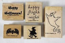 Lot of 5 Stampin' Up Halloween Wood Mounted Rubber Stamps Ghost Witch Bat Fright