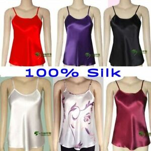 Women's 100% Silk Adjustable Strap Camisole Top Vest Sleepwear M L XL 2XL YM002